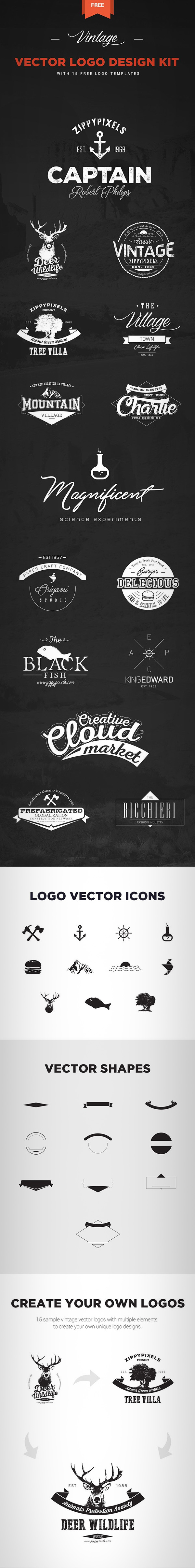 15 Free Vintage Vector Logo Templates and Logo Design Kit