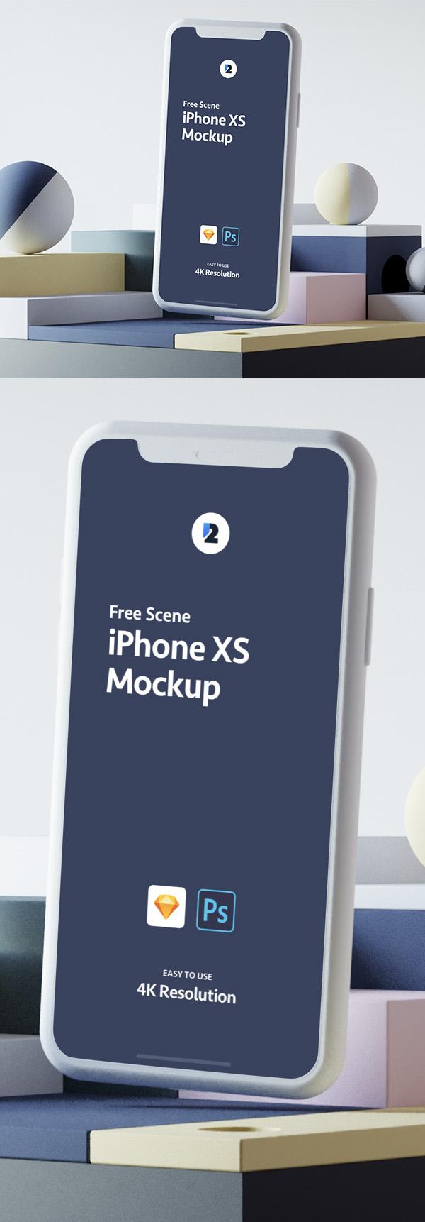 Freebies for 2019: Creative iPhone XS Scene Mockup Free Download
