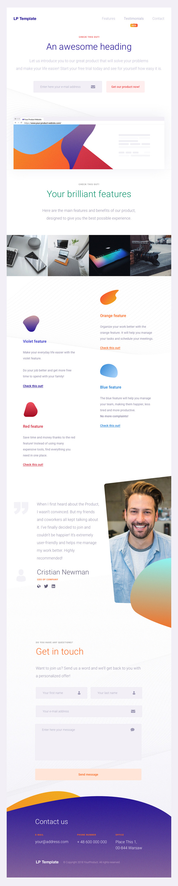 Freebies for 2019: Free Creative Landing Page Template