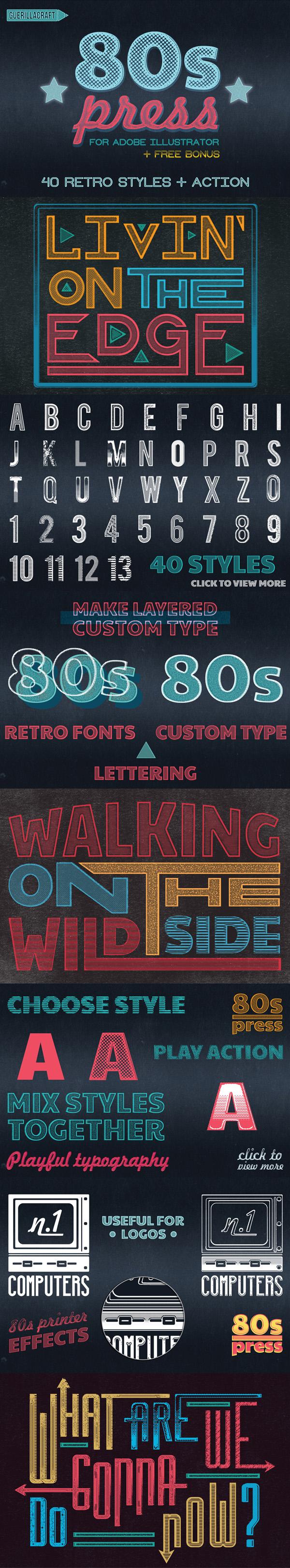 Freebies for 2019: Free 40 Retro Style for Adobe Illustrator