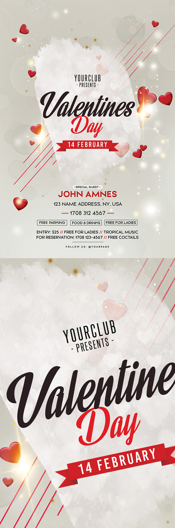 Freebies for 2019: Free Valentine's Day PSD Flyer Template