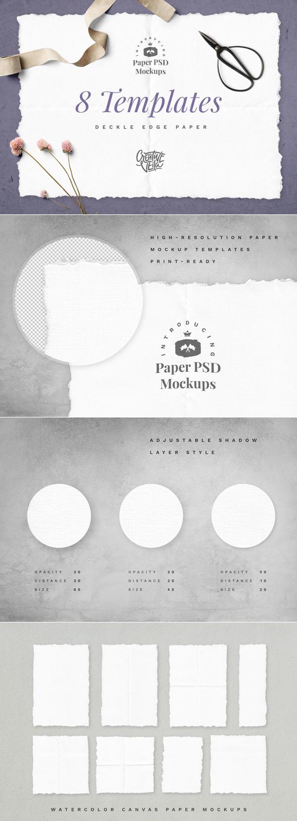 Freebies for 2019: Free Deckle Edge Paper Mockup Set