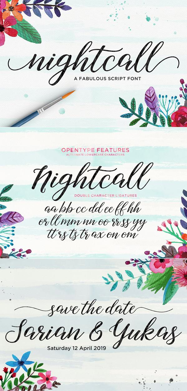 Freebies for 2019: Free Nightcall Script Font