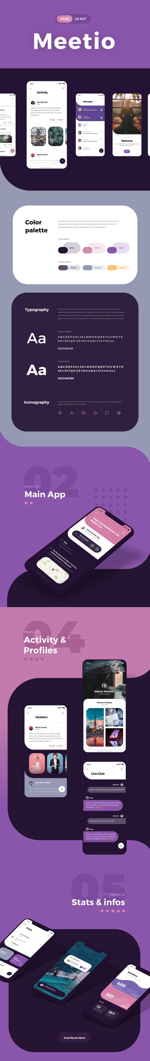 Freebies for 2019: Free Meetio UI-Kit for Adobe XD