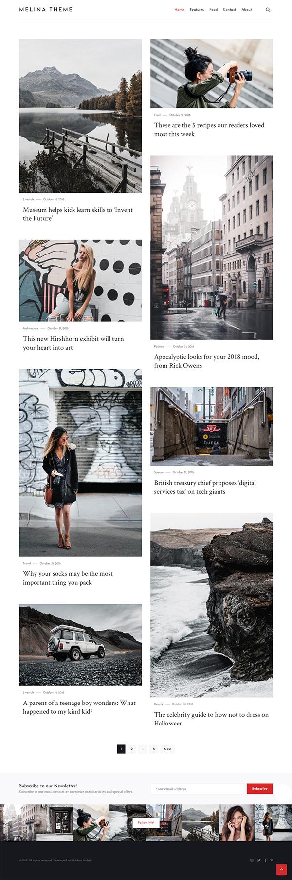 Melina - Personal Blog & Magazine WordPress Theme