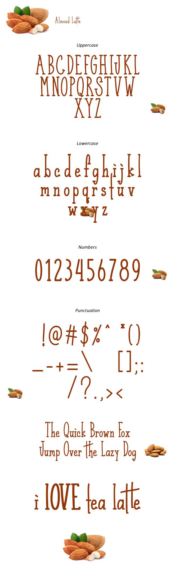 Almond Latte Font Letters