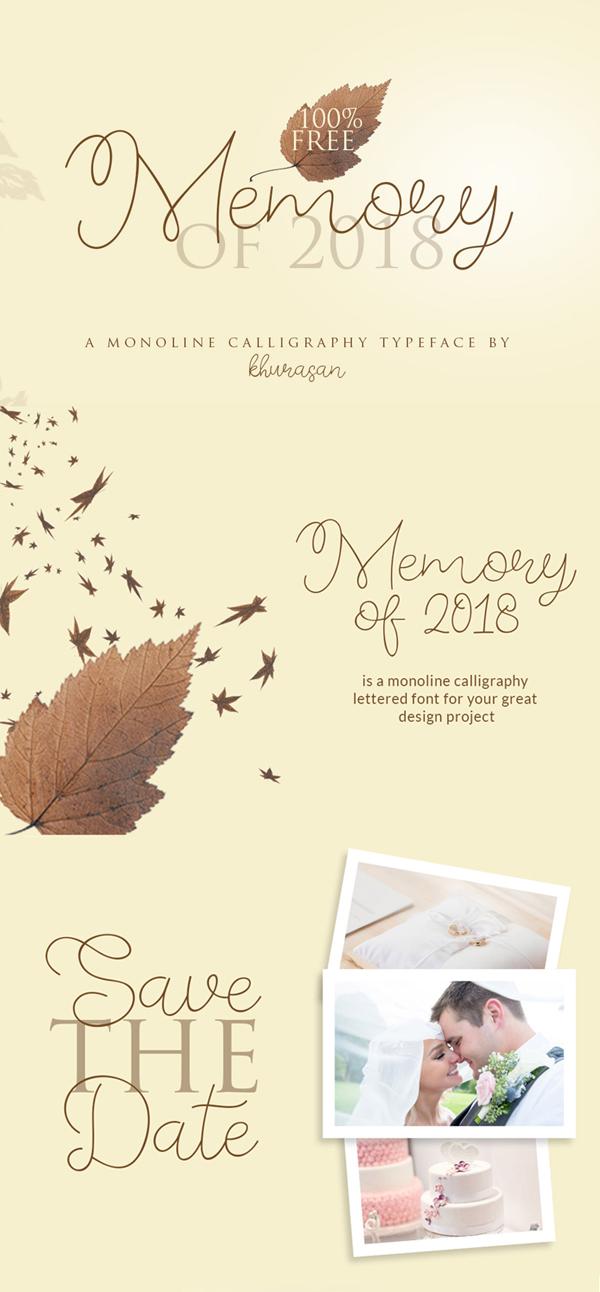 Memory of 2018 Free Font