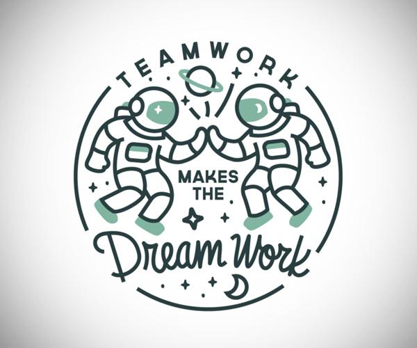 Teamwork Dream Work Badge Logo
