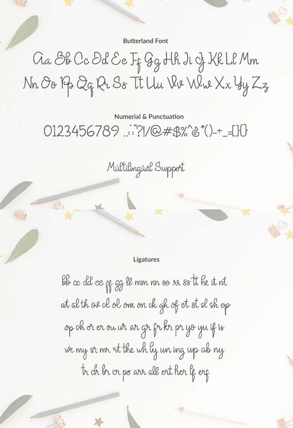 Butterland Script Font Letters