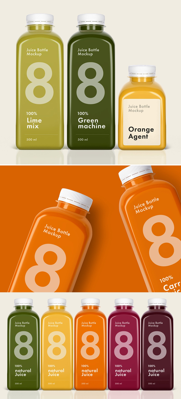 Juice Bottle Mockup Set