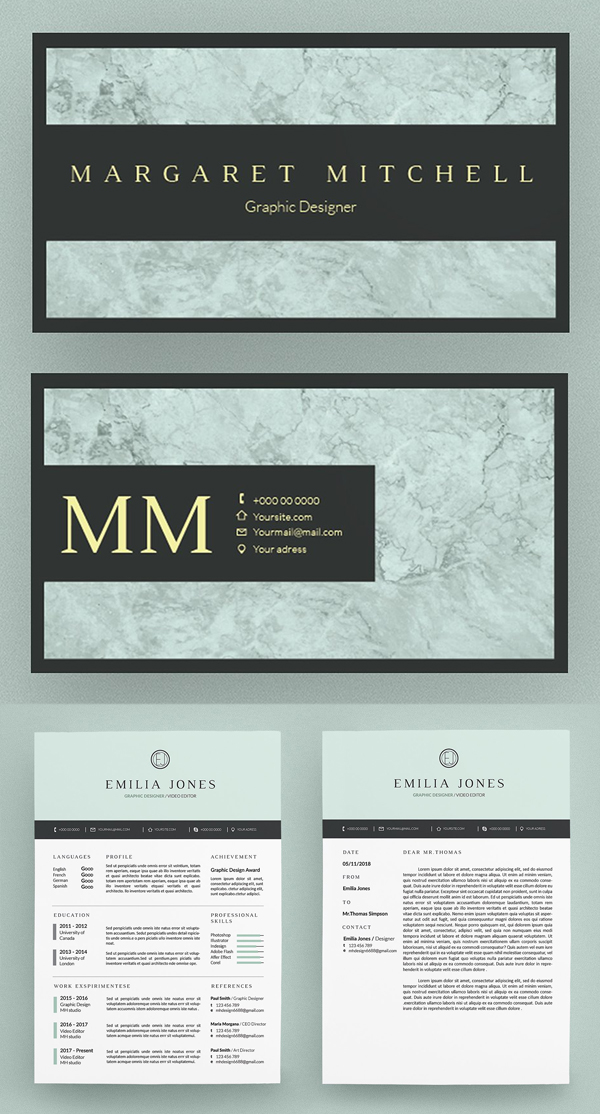 Pastel Blue Resume / Card Template