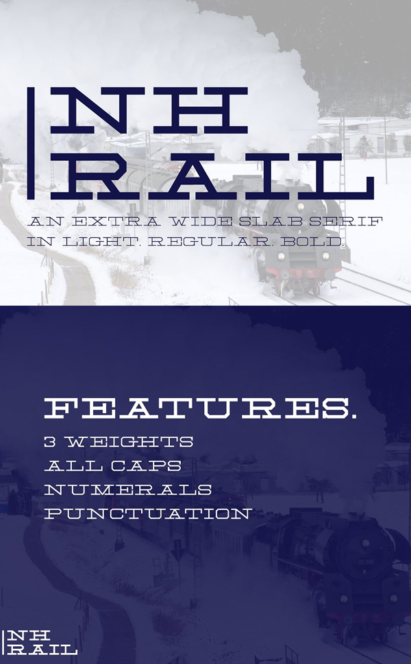 NH Rail - Extra Wide Slab Free Font