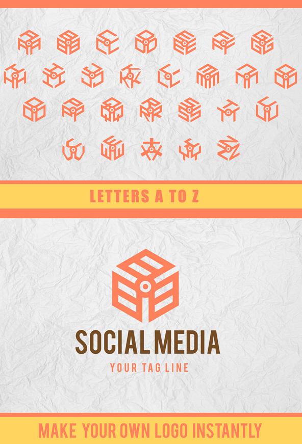 3D Isometric Logo Font Letters