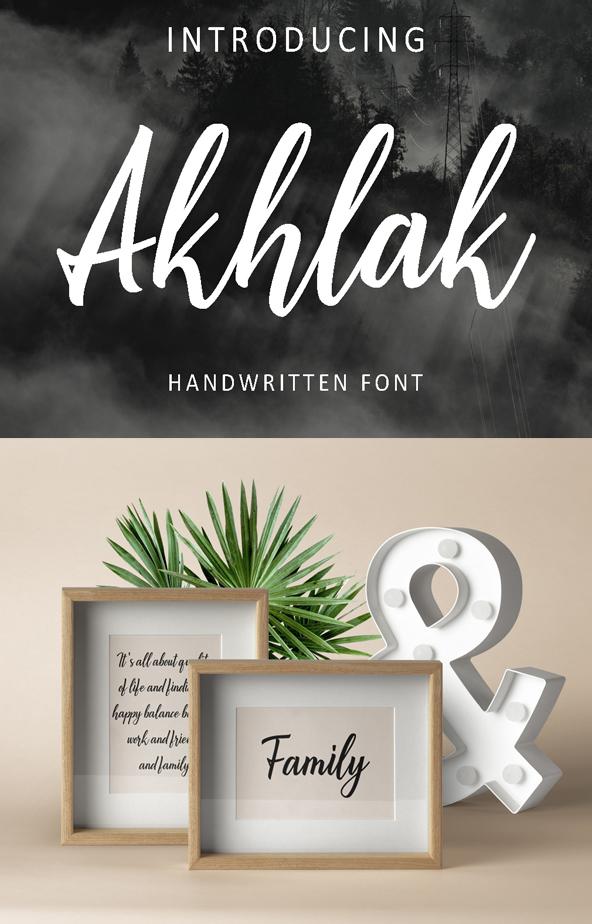 Akhlak Handwritten Free Font