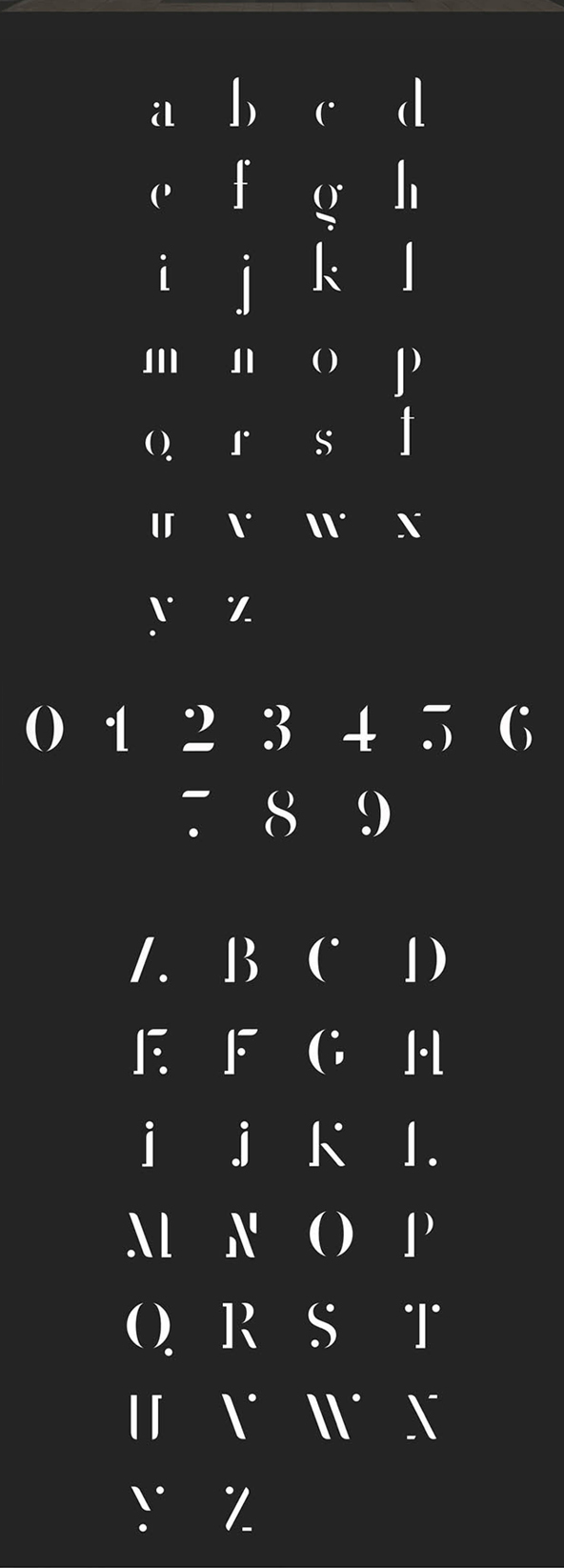 College Stencil Font Letters