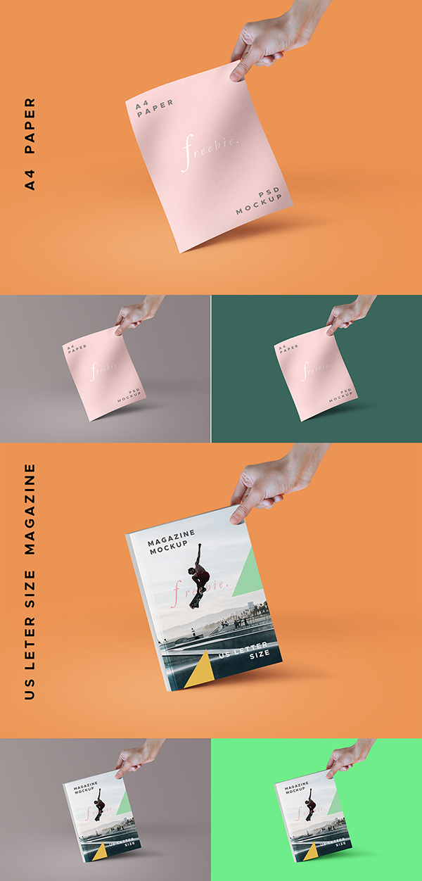 Free A4 Paper & Magazine Mockup