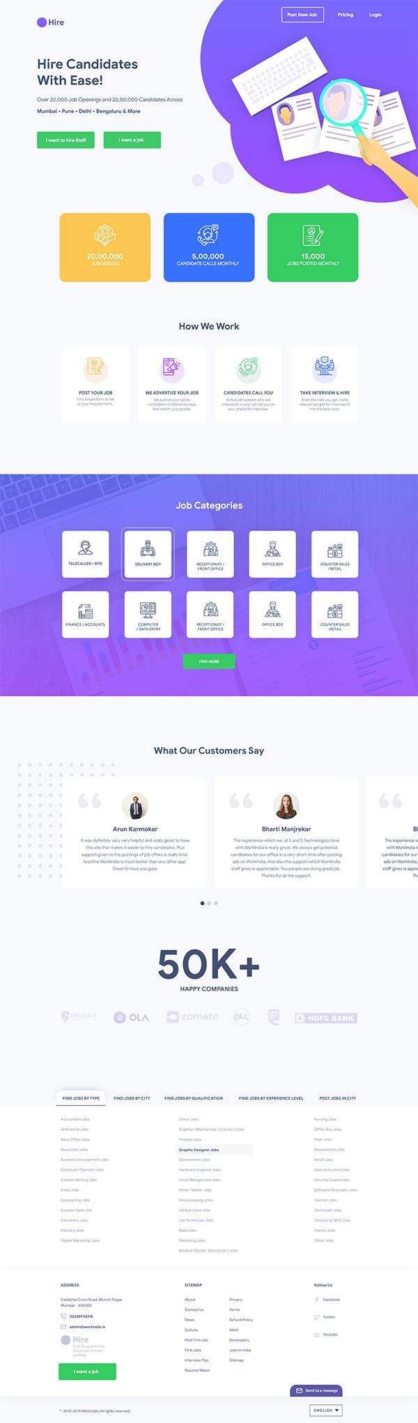 Free Job Portal Landing Page Template
