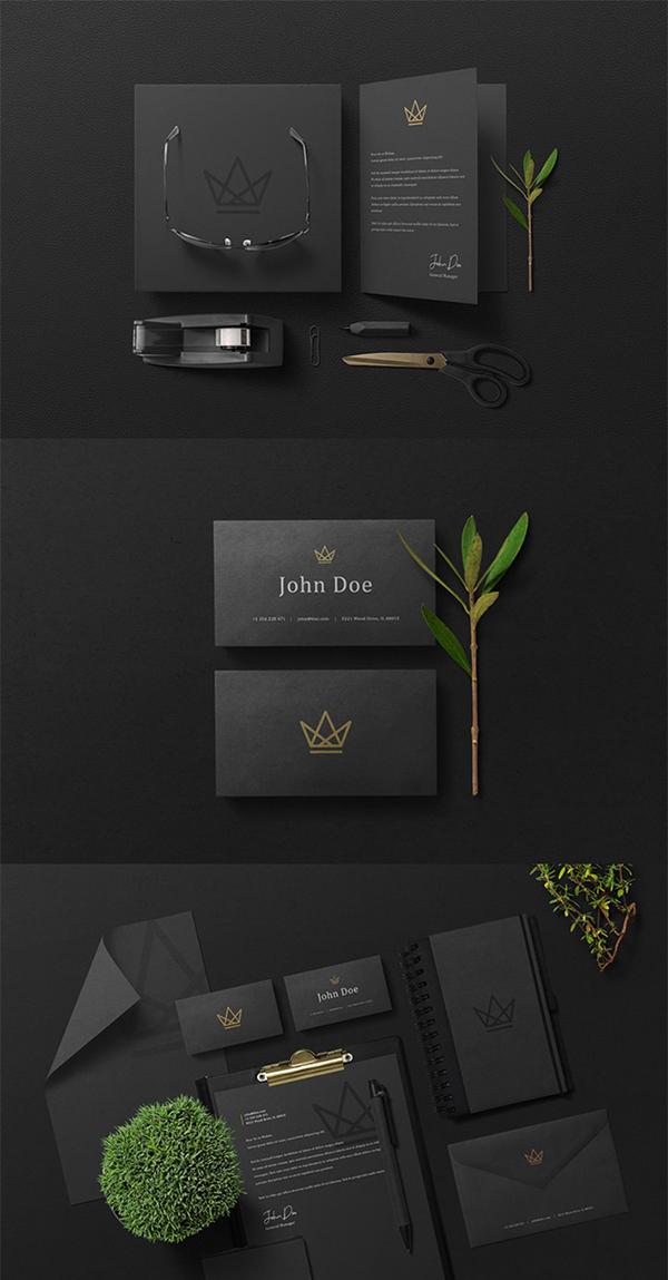 Free Elegant Black Branding Stationery PSD Mockup