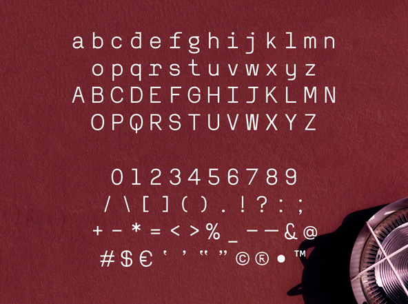 Reno Mono Font Letters