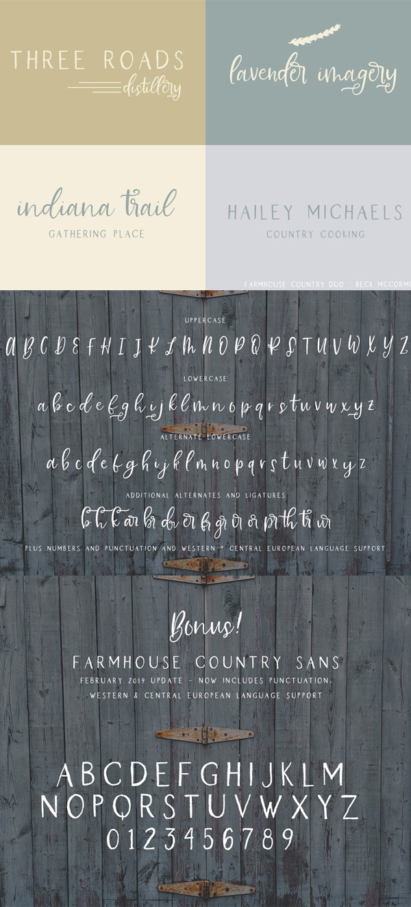 Farmhouse Country Rustic Script Font Letters