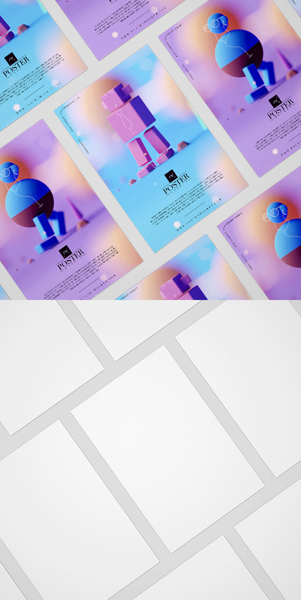 Free Branding isometric Poster Mockup