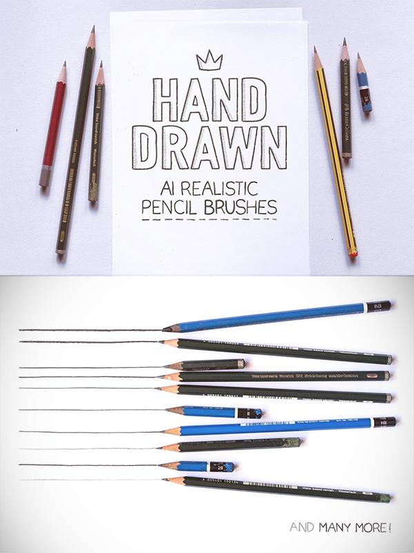 AI handmade realistic pencil brushes