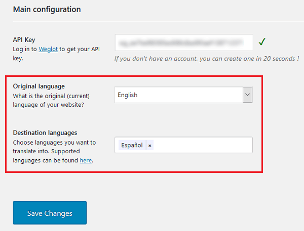 weglot settings - languages