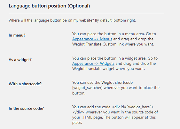 language button position