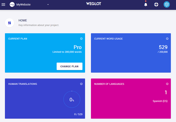 weglot dashboard overview
