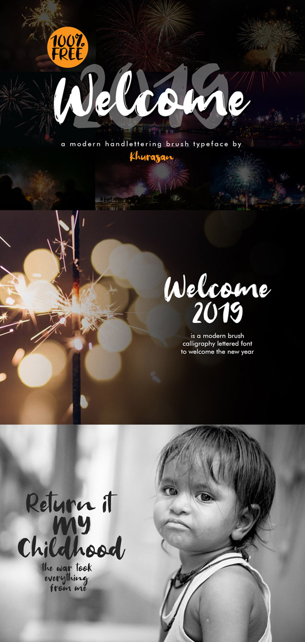 Welcome 2019 Font Free Font - 50 Best Free Brush Fonts