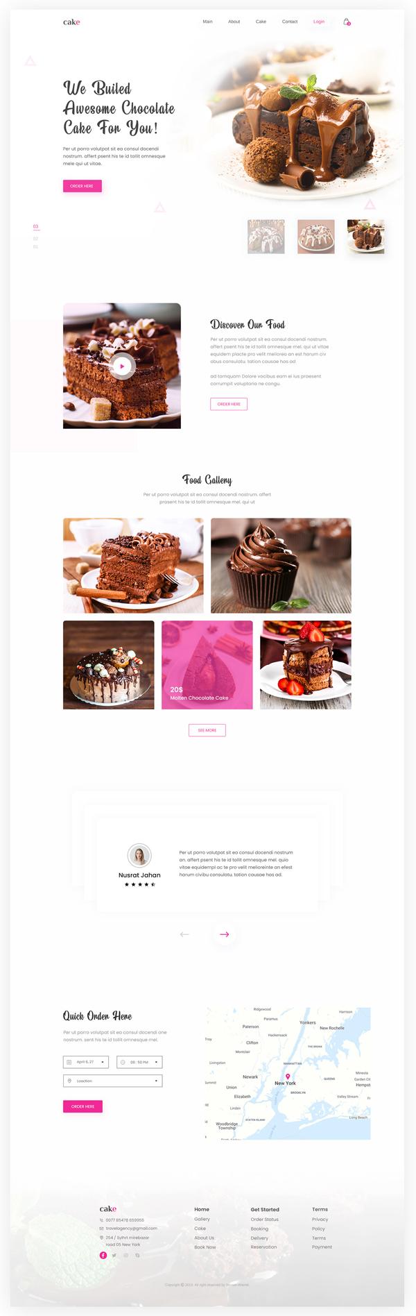 Free Cake Shop Landing Page Template