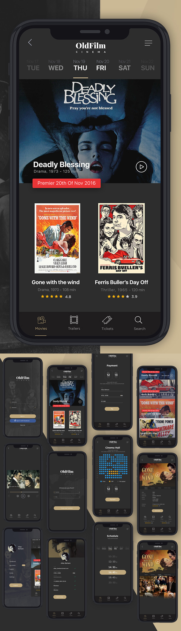 Free Cinema Mobile App Screen PSD Templates