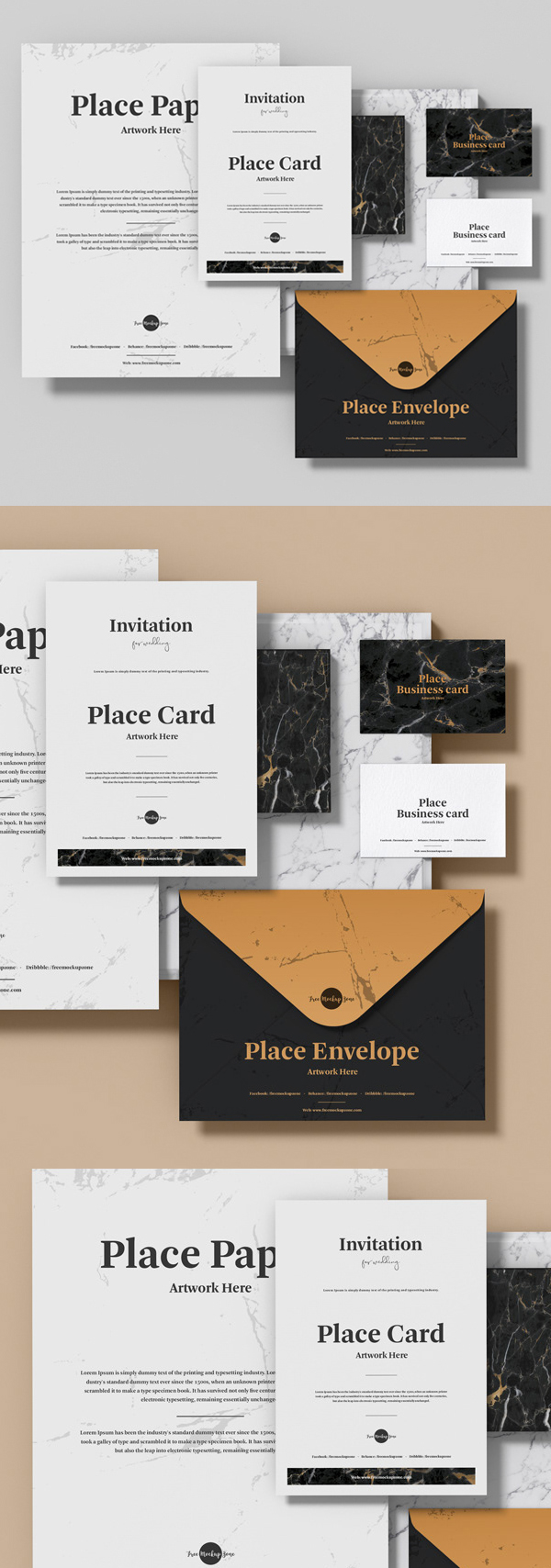 Free Stationery PSD Mockup Template Design