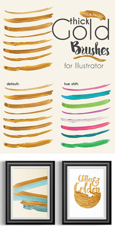 Gold Paint Brushes for Illustrator