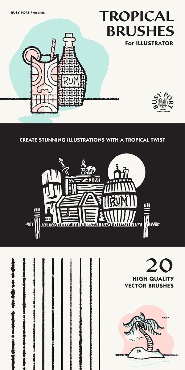 Tropical Brushes for Illustrator