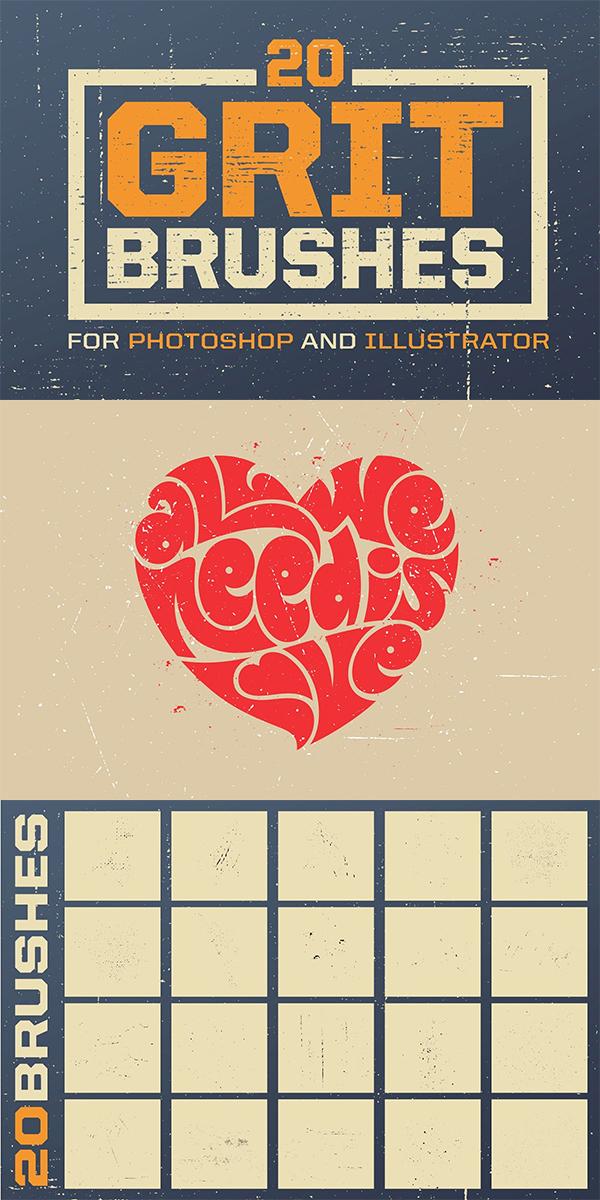 Grit Photoshop & Illustrator Brushes