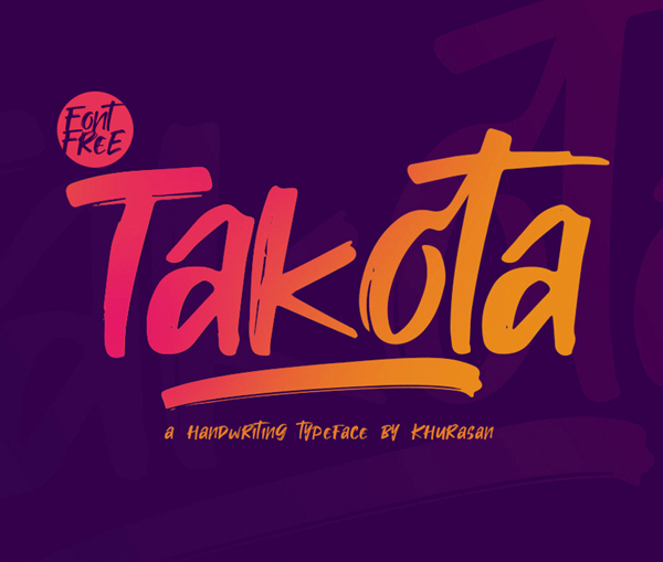 Takota Handwritten Brush Free Font - 50 Best Free Brush Fonts