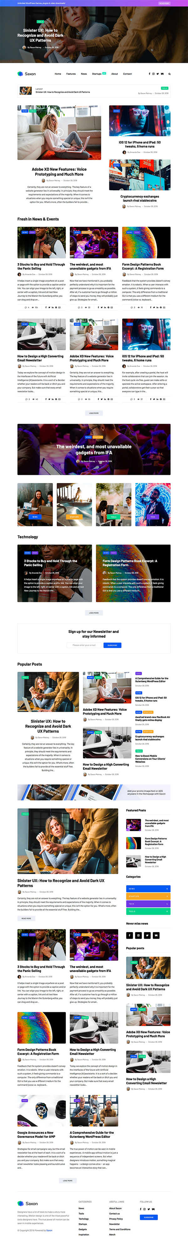 Saxon - Viral Content Blog & Magazine WordPress Theme