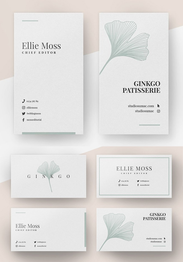 Ginkgo Minimal Business Card Template