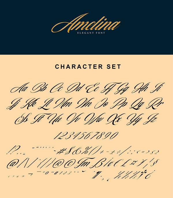 Amelina Free Font Letters