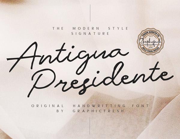 Antigua Presidente - Script Free Font