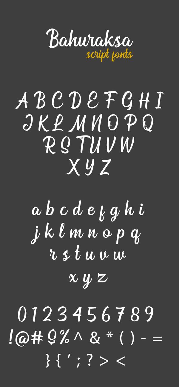 Bahuraksa Script Free Font Letters
