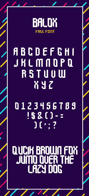 Balox Free Font Letters