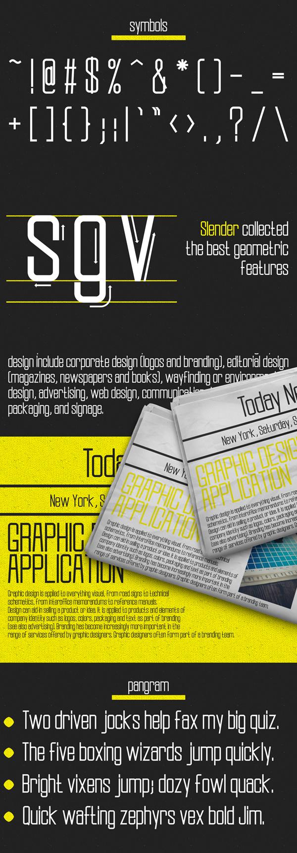Slender Free Font Symbols