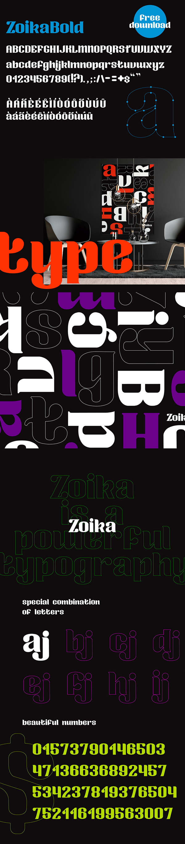 Zoika Display Free Font Letters