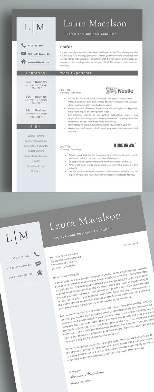 Professional 2 Pages Resume Template