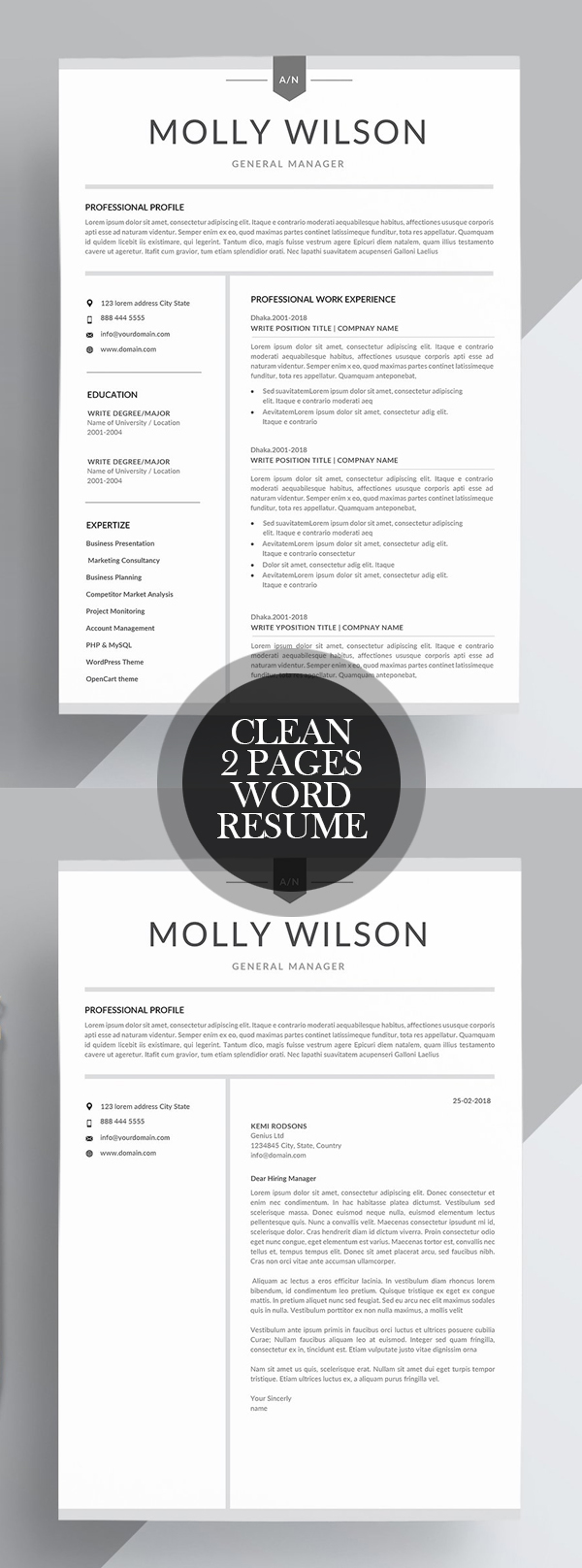 Clean 2 Page Word Resume Template #resumedesign