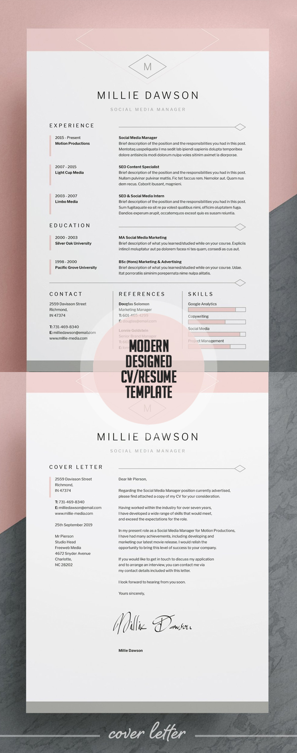 Modern Designed Resume/CV Template #resumedesign