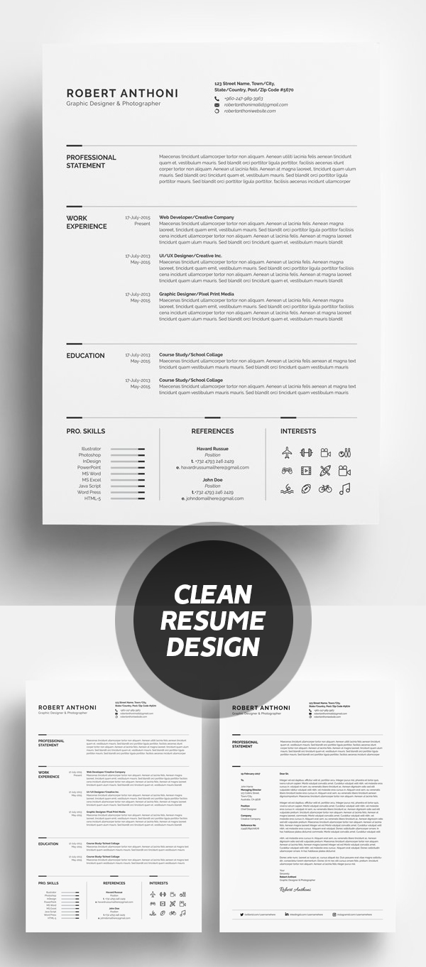 Clean Resume/CV Design #resumedesign