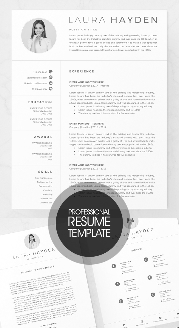 Professional Resume Template / CV Design #resumedesign